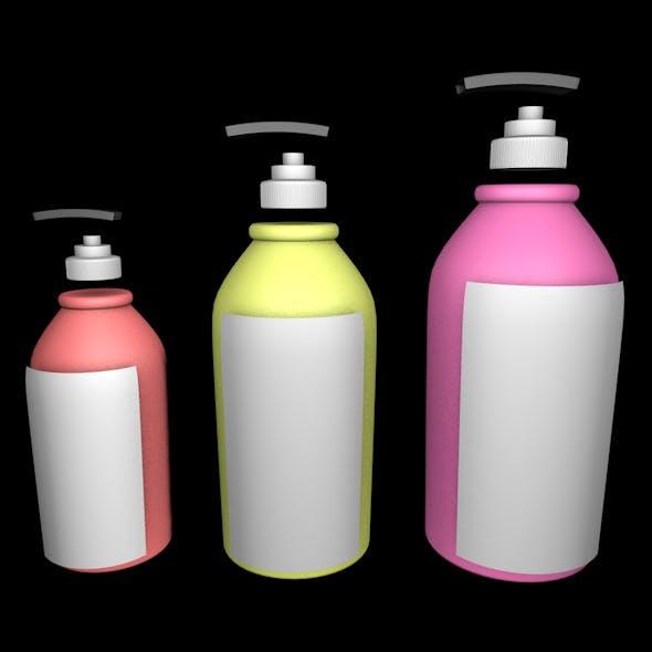 Set of 3 Plastic Bottles and Pot