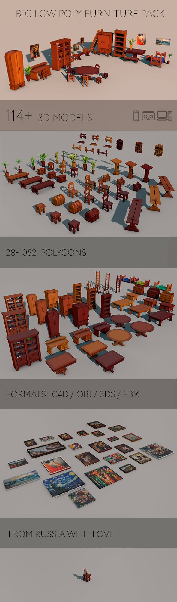 Big low poly furniture pack - 3DOcean Item for Sale