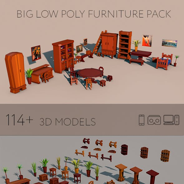 Big low poly furniture pack