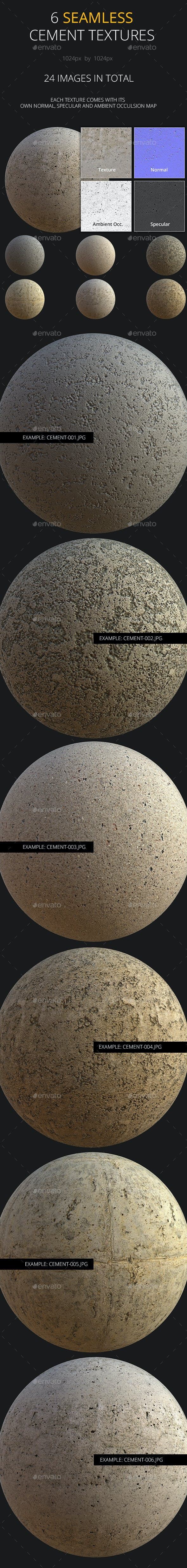 Six Detailed Cement Textures with all extras. - 3DOcean Item for Sale