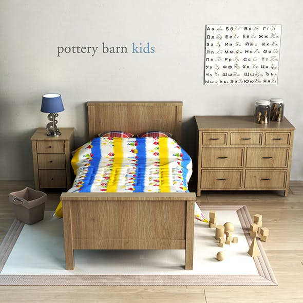 Pottery barn, Charlie Bed - 3DOcean Item for Sale