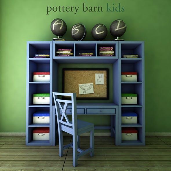 PotteryBarn, Preston Desk & Storage Wall System. - 3DOcean Item for Sale