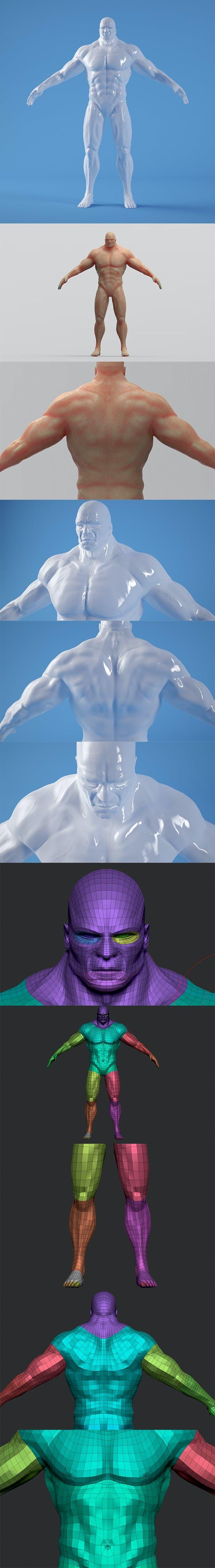 Muscled Man - Base Mesh Body Man - 3DOcean Item for Sale