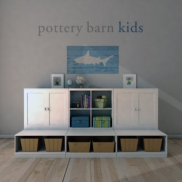 Pottery Barn, Cameron Low Storage System with Open Bases.