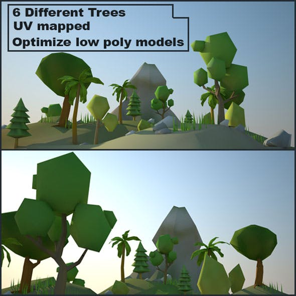 Low Poly Environment (6 Different Trees) - 3DOcean Item for Sale
