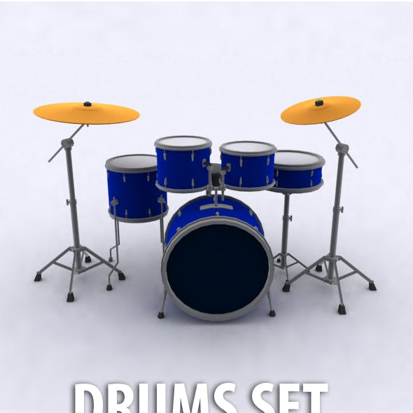 Low Poly Drums Set
