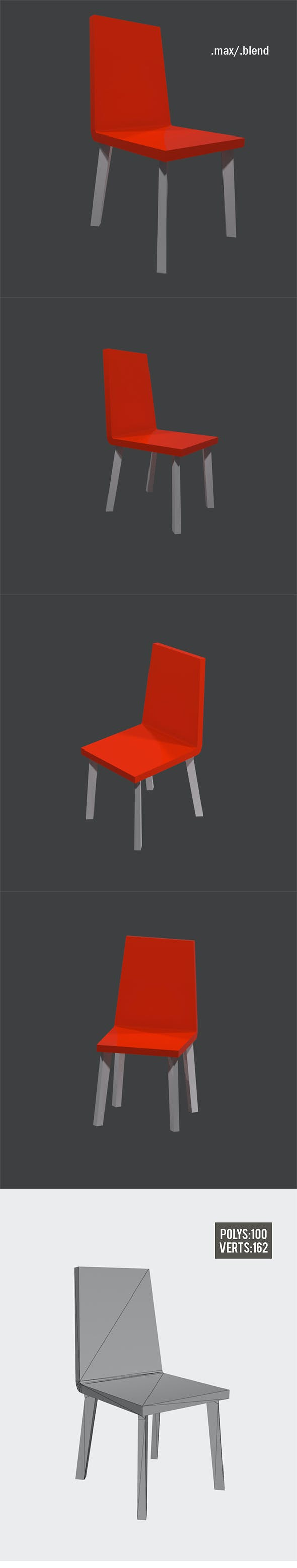 Lowpoly Modern Chair - 3DOcean Item for Sale