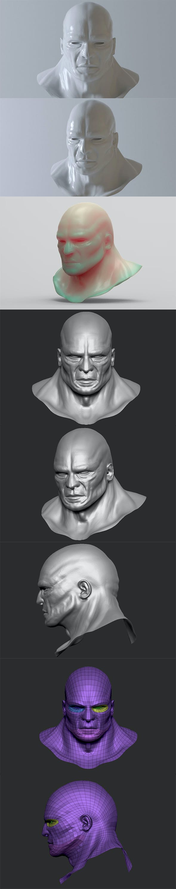 Head Man - base mesh - High and Low Poly - 3DOcean Item for Sale