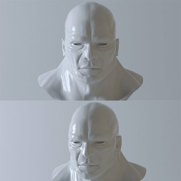 Head Man - base mesh - High and Low Poly