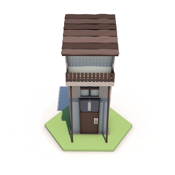 Low Poly House Tile - 3DOcean Item for Sale