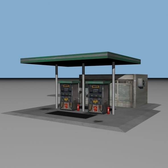 Old Style Gas Station (Low Poly)