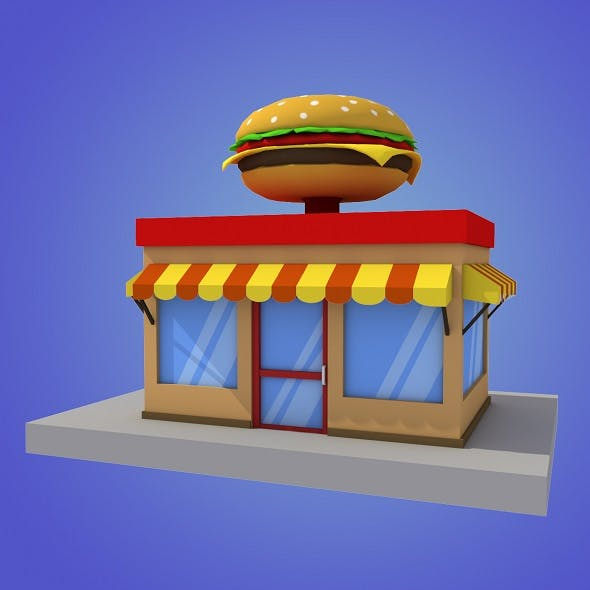 cartoon burger house building low poly - 3DOcean Item for Sale