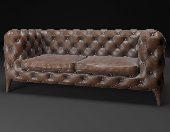 Leather settee - 3DOcean Item for Sale