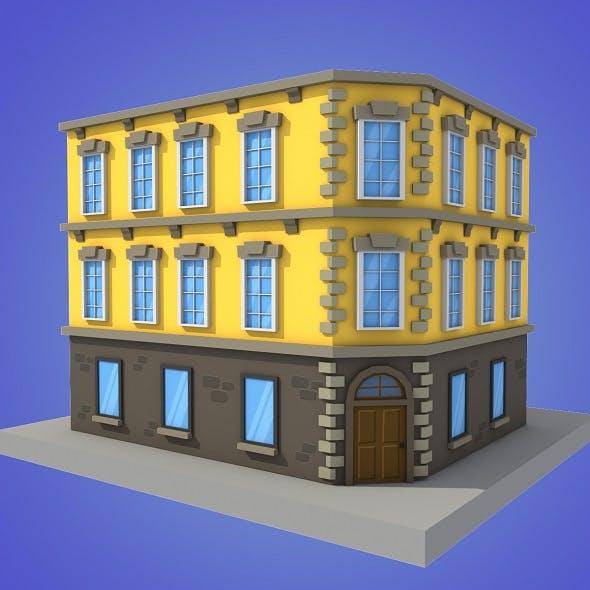 cartoon building 2 low poly
