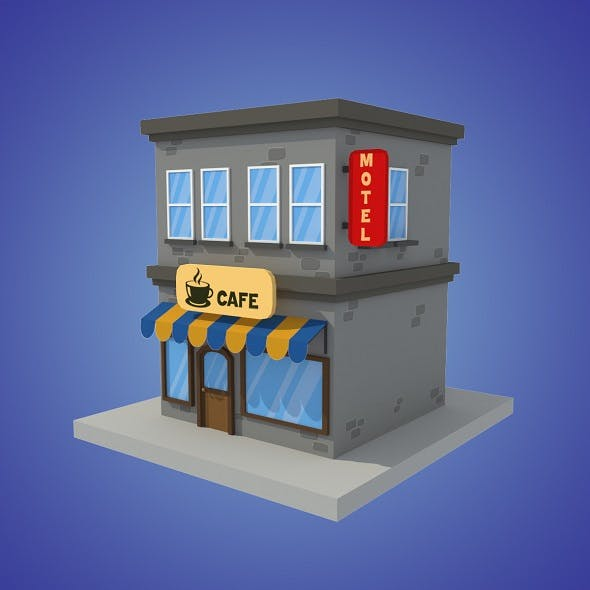 cafe motel cartoon building low poly