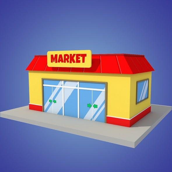 market cartoon low poly