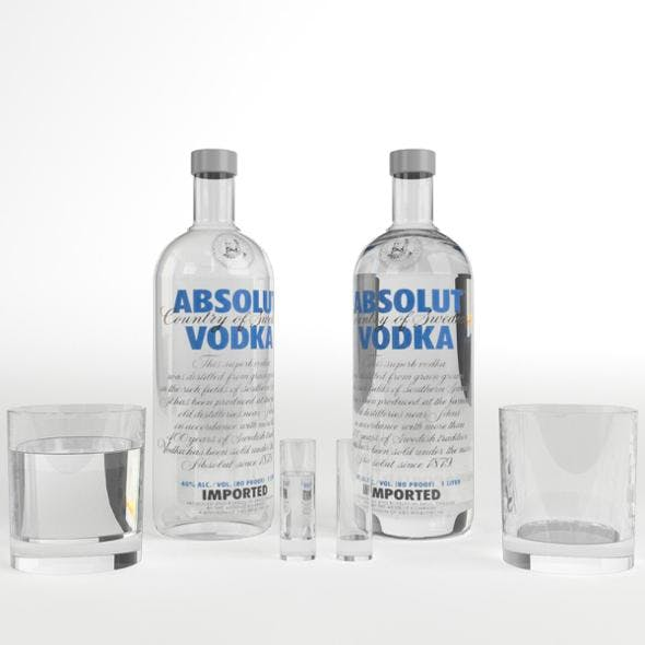 Absolut Vodka Bottle and Glasses set - 3DOcean Item for Sale
