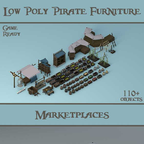 Low Poly Pirate Furniture