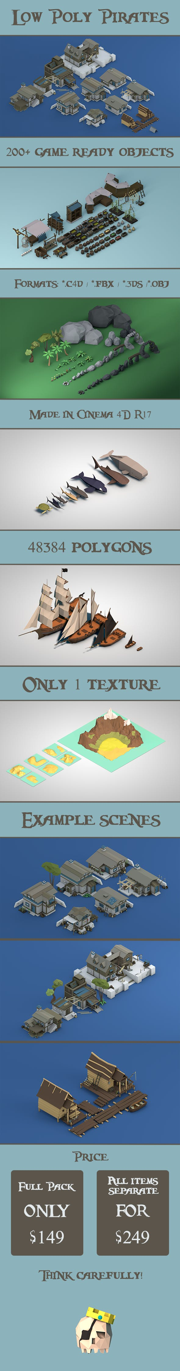 Low Poly Pirates - 3DOcean Item for Sale