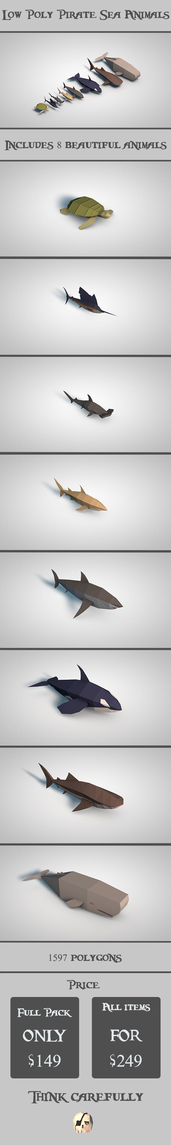 Low Poly Pirate Sea Animals - 3DOcean Item for Sale