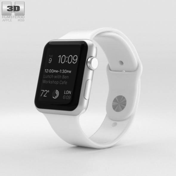 Apple Watch Sport 42mm Silver Aluminum Case White Sport Band - 3DOcean Item for Sale