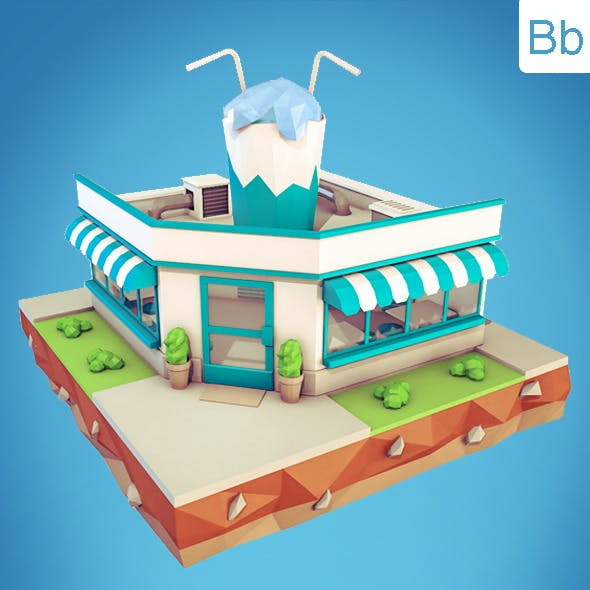 Low Poly Cocktail Cafe