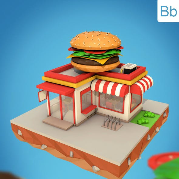 Low Poly Burger Cafe