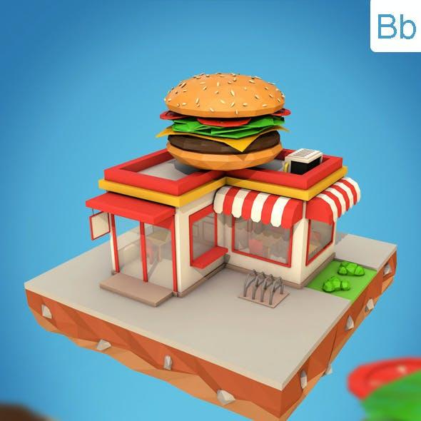 Low Poly Burger Cafe
