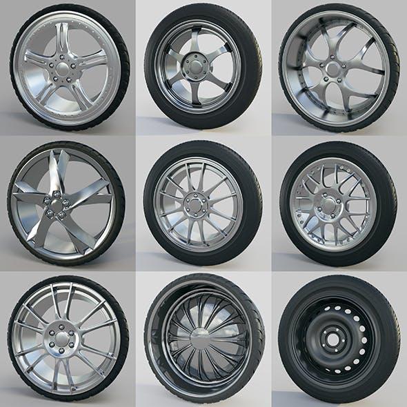 10 high detailed Car Wheels - 3DOcean Item for Sale