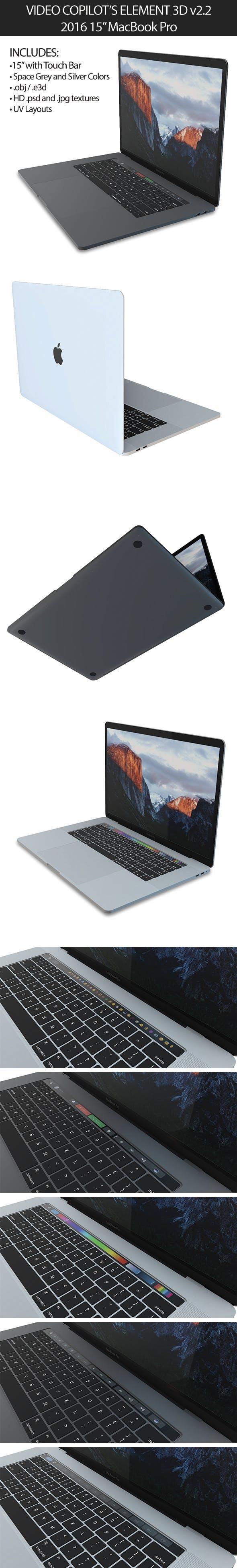"""Element 3D 2016 MacBook Pro 15"""" - 3DOcean Item for Sale"""