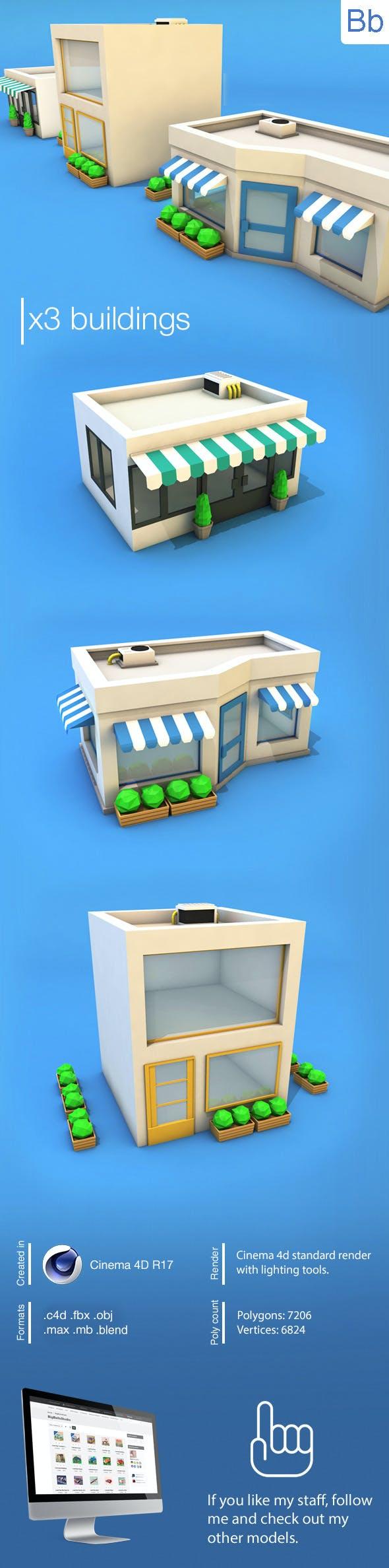 Low Poly Buildings - 3DOcean Item for Sale