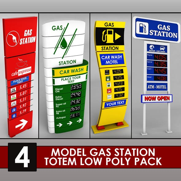Gas station price sign totem low poly pack - 3DOcean Item for Sale
