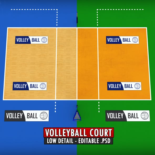 Volleyball court low detail low poly
