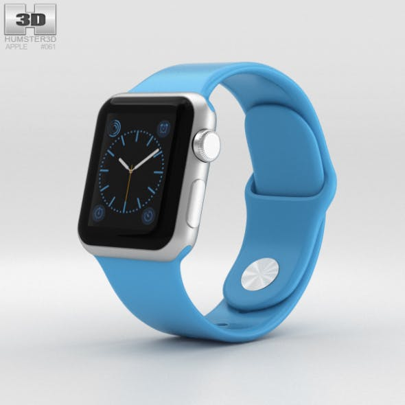 Apple Watch Sport 38mm Silver Aluminum Case Blue Sport Band