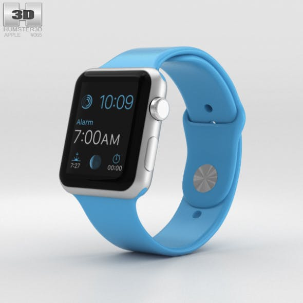Apple Watch Sport 42mm Silver Aluminum Case Blue Sport Band - 3DOcean Item for Sale