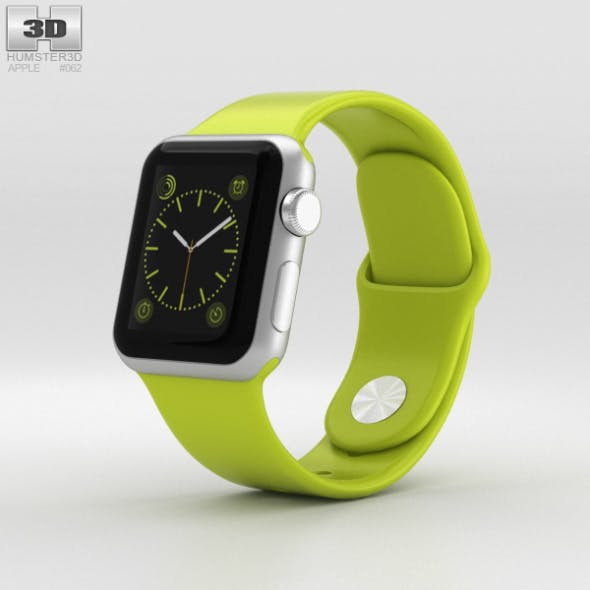 Apple Watch Sport 38mm Silver Aluminum Case Green Sport Band
