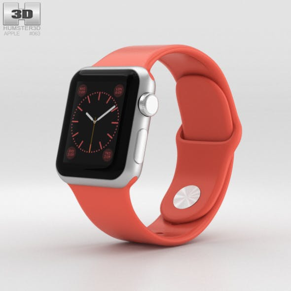 Apple Watch Sport 38mm Silver Aluminum Case Pink Sport Band - 3DOcean Item for Sale