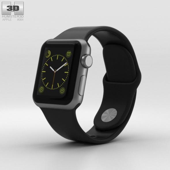 Apple Watch Sport 38mm Gray Aluminum Case Black Sport Band - 3DOcean Item for Sale
