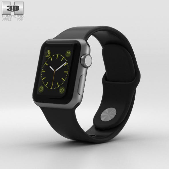 Apple Watch Sport 38mm Gray Aluminum Case Black Sport Band