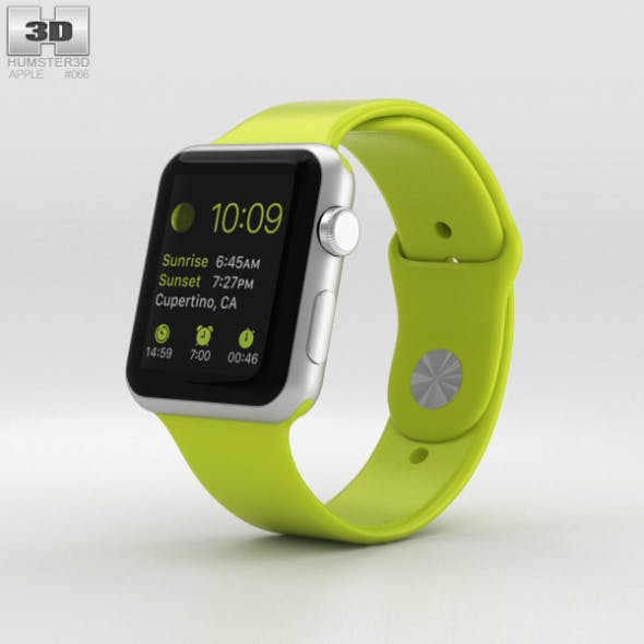 Apple Watch Sport 42mm Silver Aluminum Case Green Sport Band - 3DOcean Item for Sale