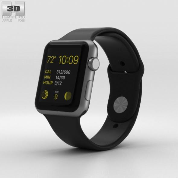 Apple Watch Sport 42mm Gray Aluminum Case Black Sport Band - 3DOcean Item for Sale
