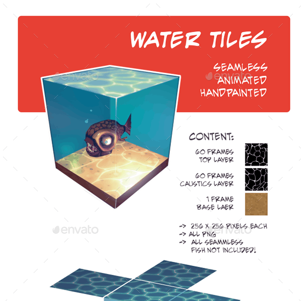 water tiles - seamless, animated, handpainted