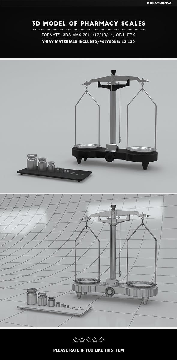 3d Model of Pharmacy Scales - 3DOcean Item for Sale