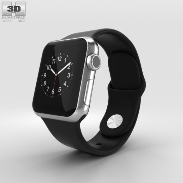 Apple Watch 38mm Stainless Steel Case Black Sport Band