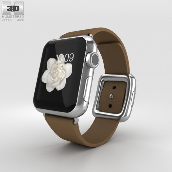 Apple Watch 38mm Stainless Steel Case Brown Modern Buckle