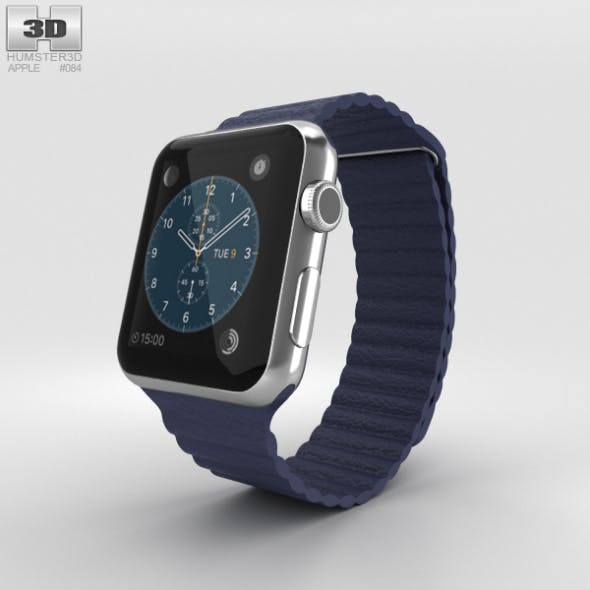 Apple Watch 42mm Stainless Steel Case Blue Leather Loop - 3DOcean Item for Sale