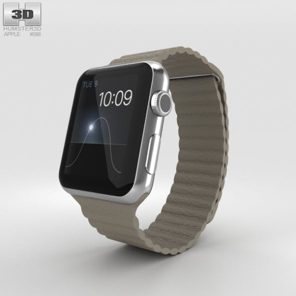 Apple Watch 42mm Stainless Steel Case Stone Leather Loop - 3DOcean Item for Sale