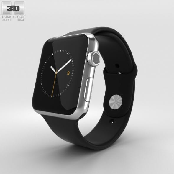 Apple Watch 42mm Stainless Steel Case Black Sport Band - 3DOcean Item for Sale