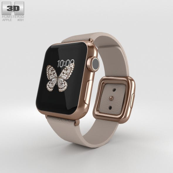 Apple Watch Edition 38mm Rose Gold Case Gray Modern Buckle - 3DOcean Item for Sale