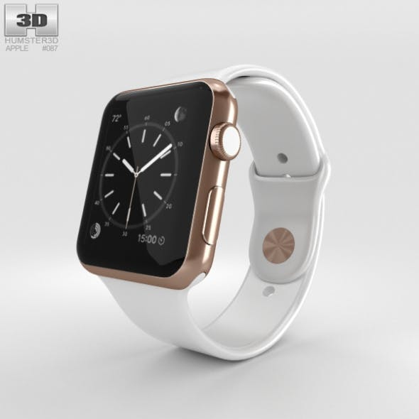 Apple Watch Edition 42mm Rose Gold Case White Sport Band - 3DOcean Item for Sale